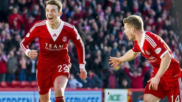 Ryan Jack wheels away after scoring the winner for Aberdeen against Kilmarnock
