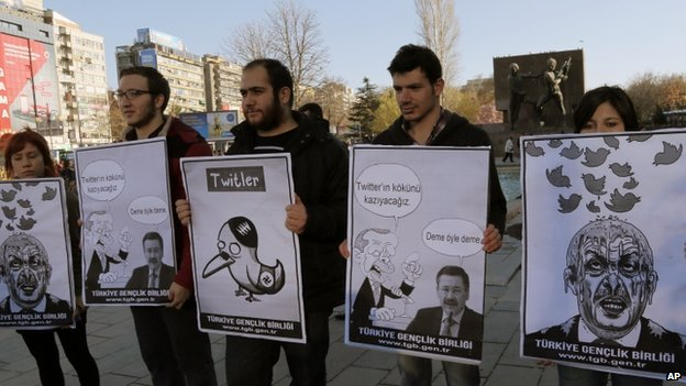 Members of the Turkish Youth Union hold cartoons depicting Prime Minister Recep Tayyip Erdogan during a protest against a ban on Twitter, in Ankara (21 March 2014)