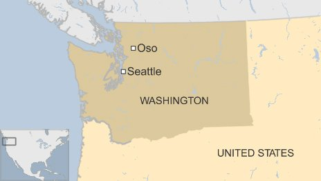Map showing town of Oso in the State of Washington.