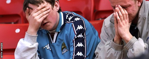 Man City fans contemplate relegation