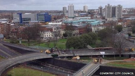 Greyfriars Green flyover deconstruction