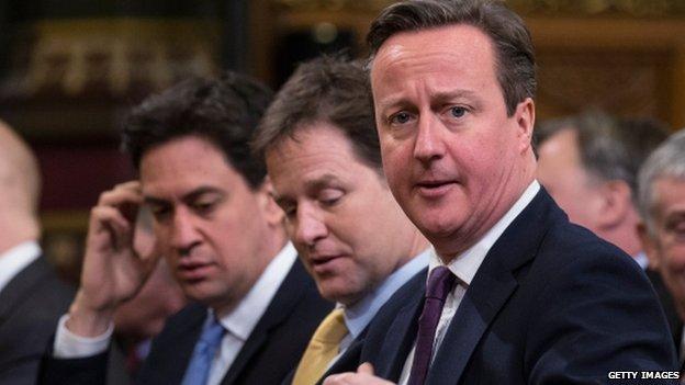 Ed Miliband, Nick Clegg, David Cameron