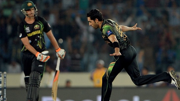 Pakistan bowlwer Umar Gul strikes