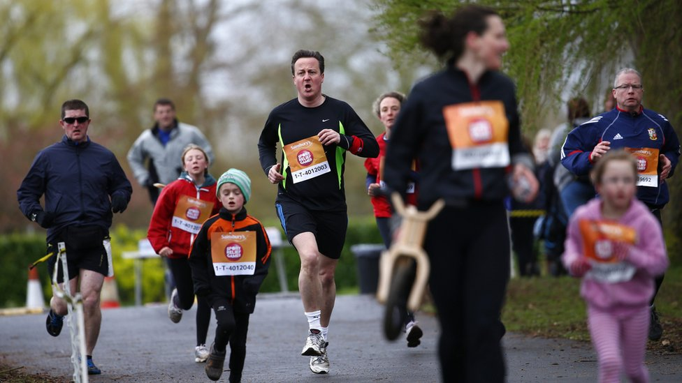 Prime Minister David Cameron takes part in the Sport Relief Mile, a run for charity in Oxford