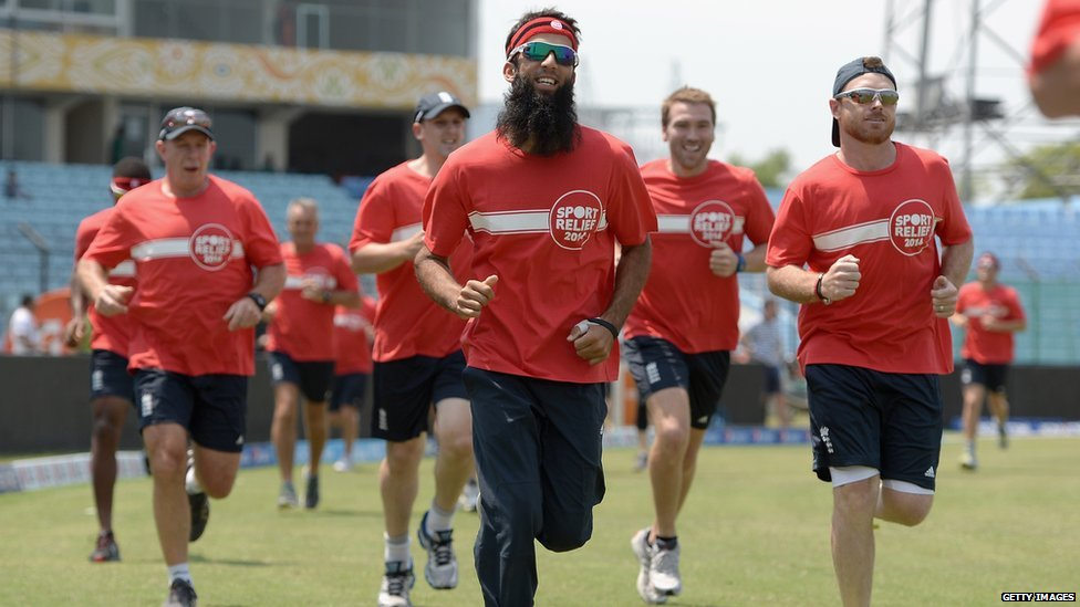 Moeen Ali and Ian Bell of England take part in the Sport Relief mile at Zahur Ahmed Chowdhury Stadium on  in Chittagong, Bangladesh