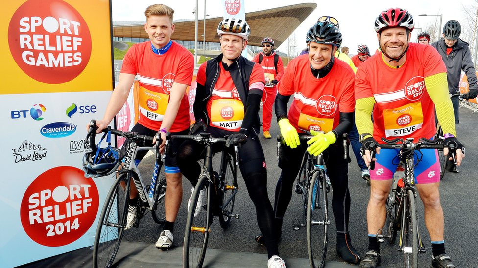 TV presenters Jeff Brazier, Matt Barbet, Dermot Murnaghan, and Steve Backshall create a celebrity start to the 25 mile charity bike ride starting at the Velodrome in the Queen Elizabeth Olympic Park in Stratford.
