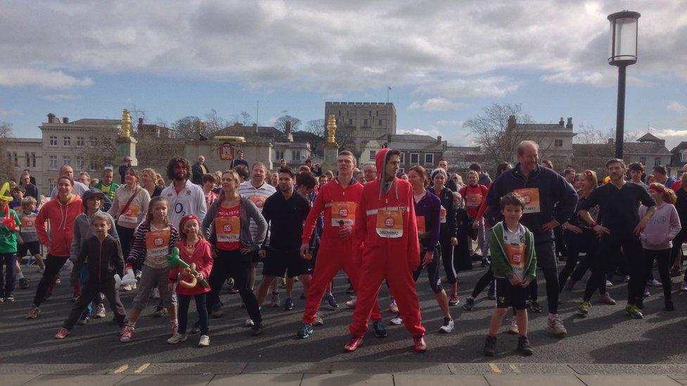 Warm-up ahead of Norwich Sport Relief mile