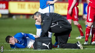 Ian Black was carried off on the hour mark for Rangers.