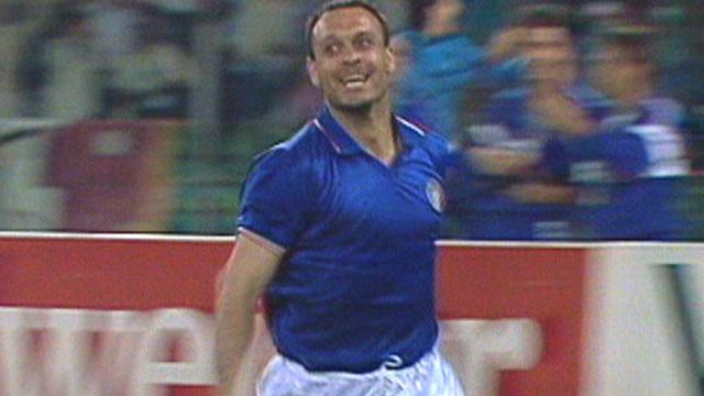 Salvatore Schillaci scores for Italy against Austria