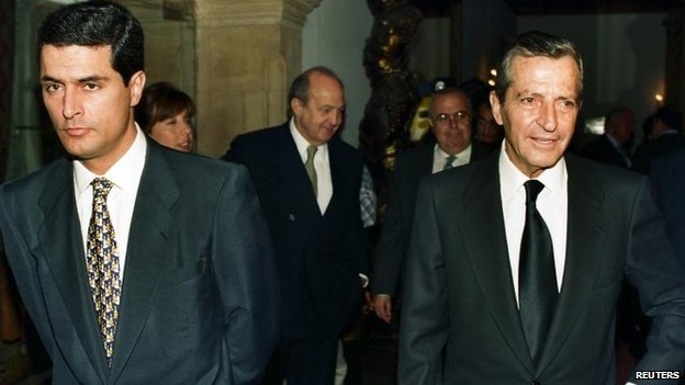 Adolfo Suarez and his son in Oviedo, northern Spain, in October 1996