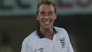 David Platt celebrates after scoring for England against Belgium