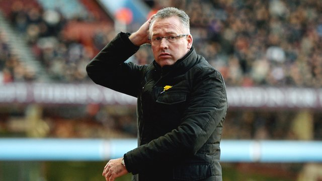 Aston Villa manager Paul Lambert during his side's 4-1 defeat against Stoke