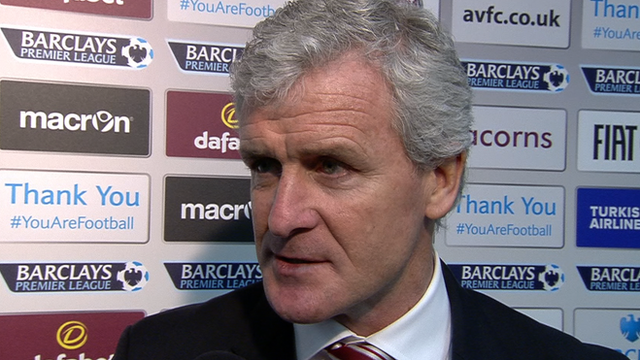 Mark Hughes says he is delighted by Stoke's away win
