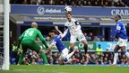 Defender Angel Rangel goes close with a header during Swansea's 3-2 defeat at Everton.