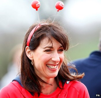 Samantha Cameron waits to take part in Sport Relief charity run in Oxford on 23 March 2014