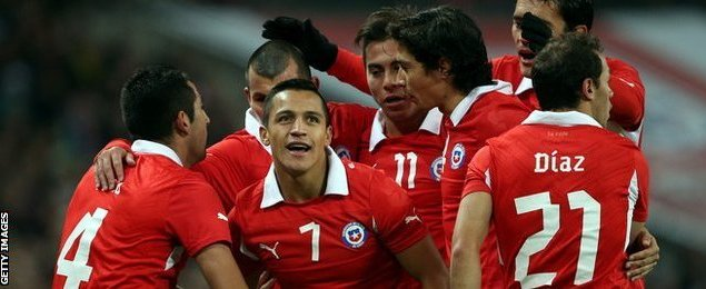 Chile players celebrate during 2-0 win over England at Wembley, November 2013