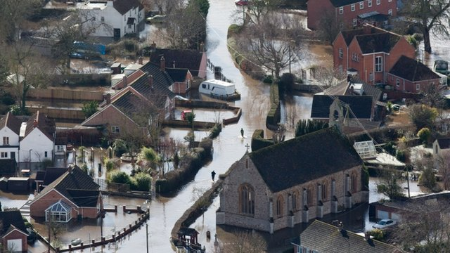 Moorland on the Somerset levels was flooded during the winter storms