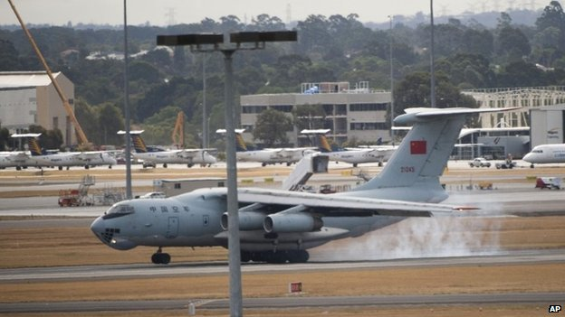 A Chinese IL-76 plane searching for the missing Malaysia Airlines Flight MH370