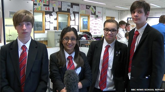 Four School Reporters in a line