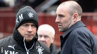 Rangers assistant Kenny McDowall and Kris Boyd