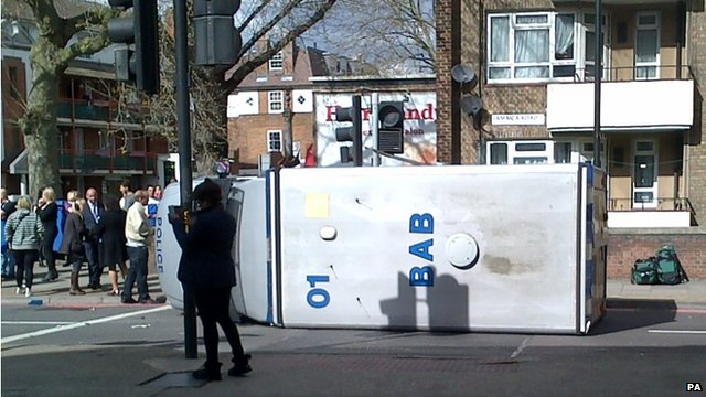 Police van on its side