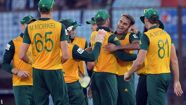 Imran Tahir and South Africa celebrate