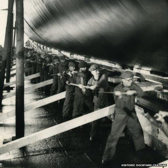 Workers at Chatham Dockyard