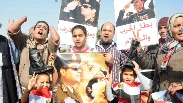 Supporters of Field Marshall Abdel Fatah Al-Sisi outside court