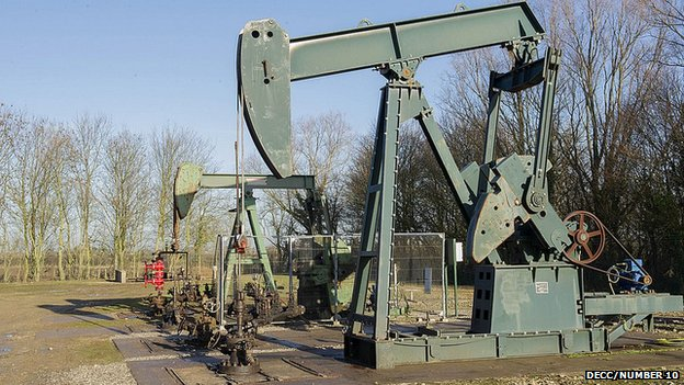 """Nodding donkey"" pumps at the iGas onshore oil and gas well in Gainsborough"