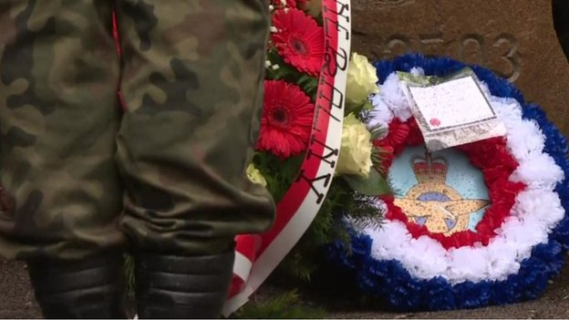 Wreaths laid at the entrance to the tunnel