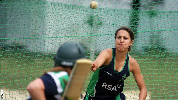 Elena Tice (right) at Ireland training in Sylhet on Monday