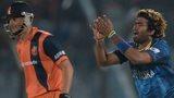 Lasith Malinga celebrates Mudassar Bukhari wicket