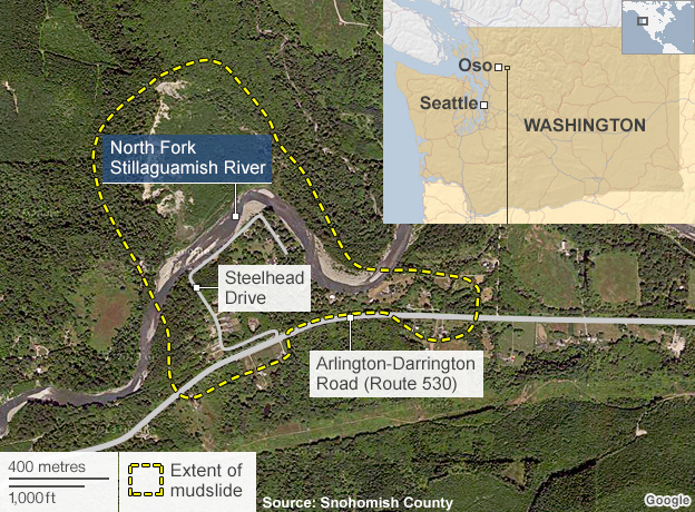 Map of Oso, Washington