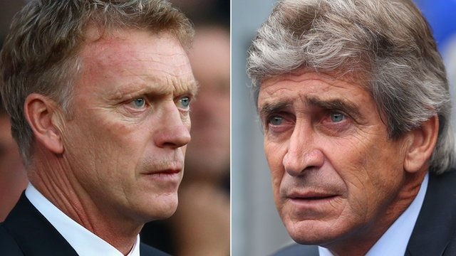 Manchester United manager David Moyes & Manchester City boss Manuel Pellegrini
