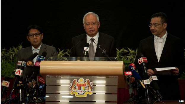 Malaysian Prime Minister Najib Razak at news conference