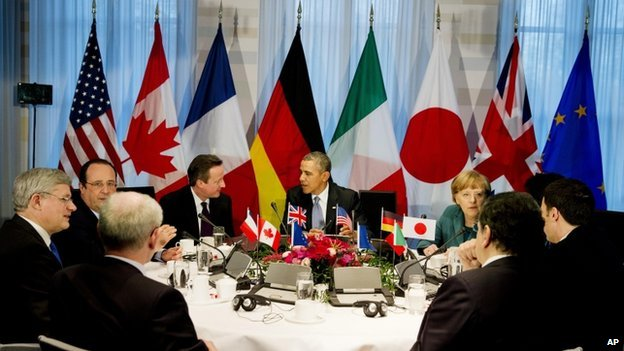 G7 world leaders on the sidelines of the nuclear security Summit in The Hague on 24 March 2014