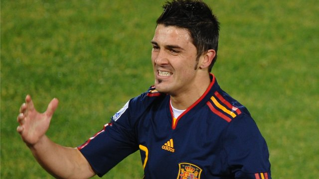 Spain's David Villa scores an audacious World Cup goal
