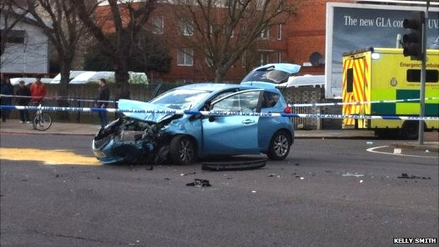 Police van and car crash in Bermondsey