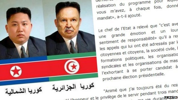 Screenshot of a doctored image of North Korean leader Kim Jong-un and Algerian leader Abdelaziz Bouteflika