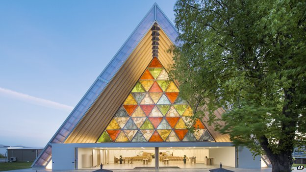 Shigeru Ban's cardboard cathedral in New Zealand - outside