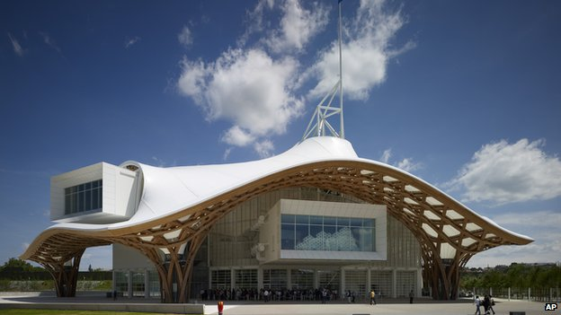 The exterior of the Centre Pompidou-Metz, a contemporary art museum in Metz, France, designed by architect Shigeru Ban