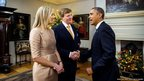 King Willem-Alexander of The Netherlands and Queen Maxima greet US President Barack Obama at the Royal Palace
