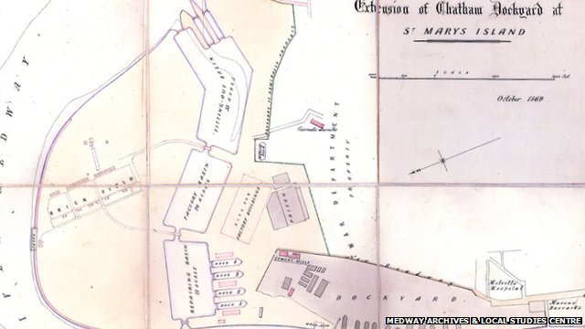 October 1869 plan showing the Chatham Dockyard extension
