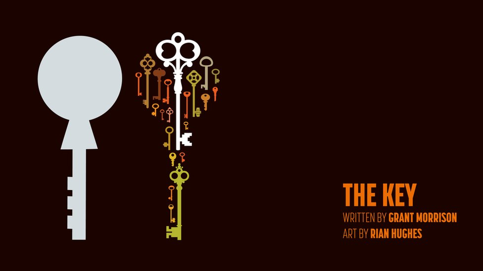 The Key - title page with an image of two keys - one is grey (a state key) the other is made up of lots of small individual keys in different designs and colours