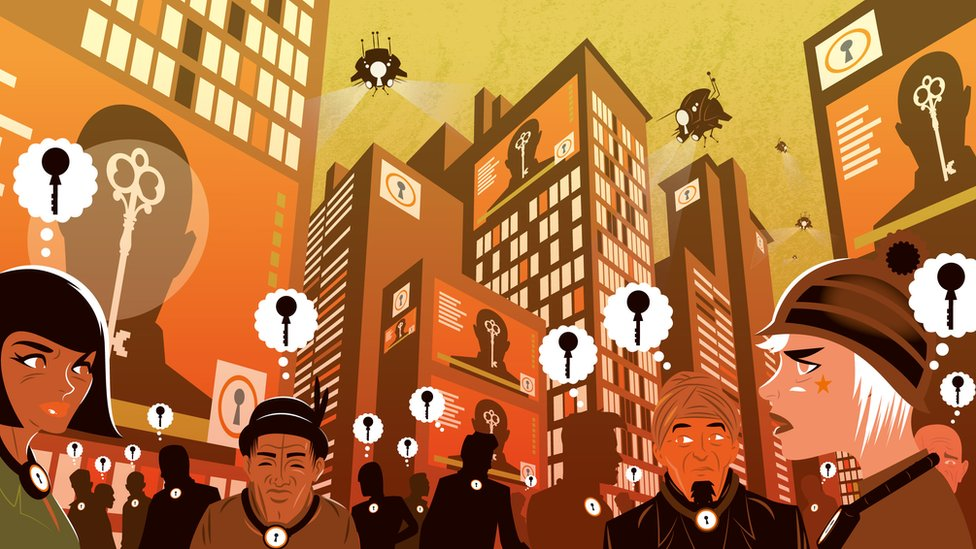 Meanwhile in the city, we see surveillance drones fly high above people with thought bubbles above their heads, each containing the 'state' key.