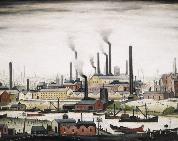 A River Bank by LS Lowry