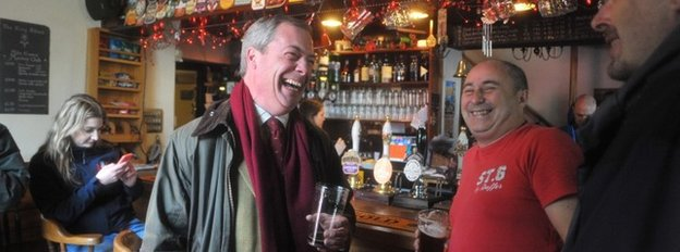Nigel Farage in a pub