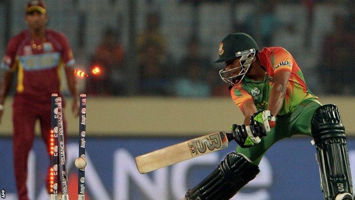 Bangladesh batsman Sohag Gazi is bowled