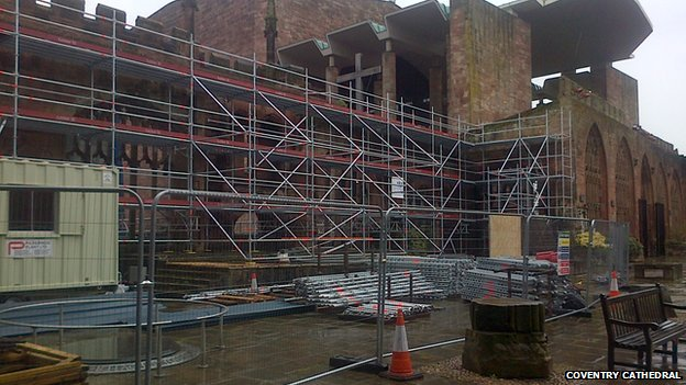 The cathedral in scaffolding