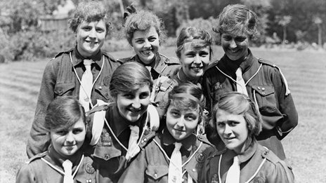 A group of Girl Guides during World War One